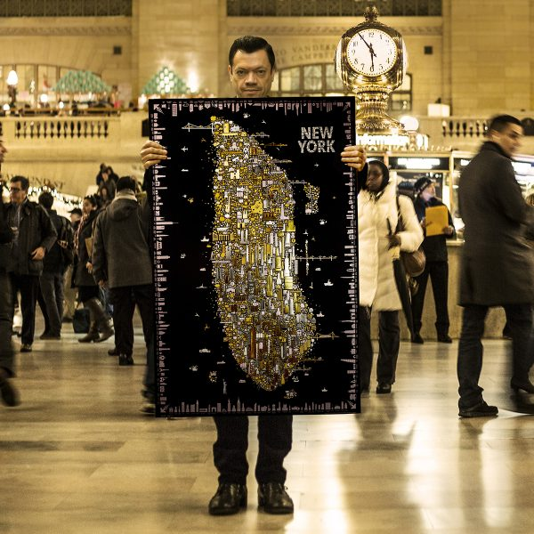 Iconic New York illuminated collectable poster