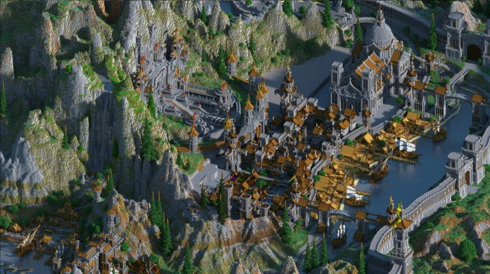 """JeraCraft's """"Kingdoms of Greymane 2020,"""" showing a port city surrounded by mountains"""