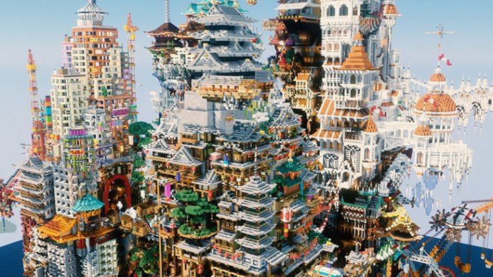 """A render of """"Illegal Architecture,"""" showing many overlapping buildings from different architectural styles"""